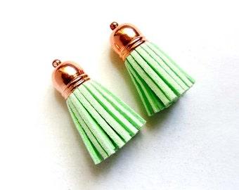 2 Mint Green Tassel Charm/Pendants -22-35-3