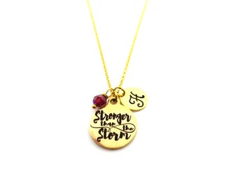 Stronger Than The Storm Necklace - Gold Initial Necklace - Birthstone Necklace - Custom Initial Necklace - Personalized Necklace