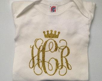 Custom monogram baby girl onesie