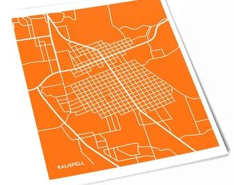 Kalispell City Map Art Print / Montana Line Map Art / 8x10 Wall Art / Choose your color