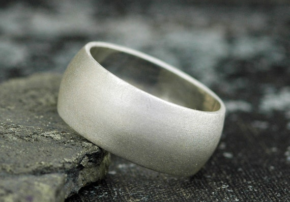 3/8 Inch Satin Frosted Sterling Silver Band- Custom