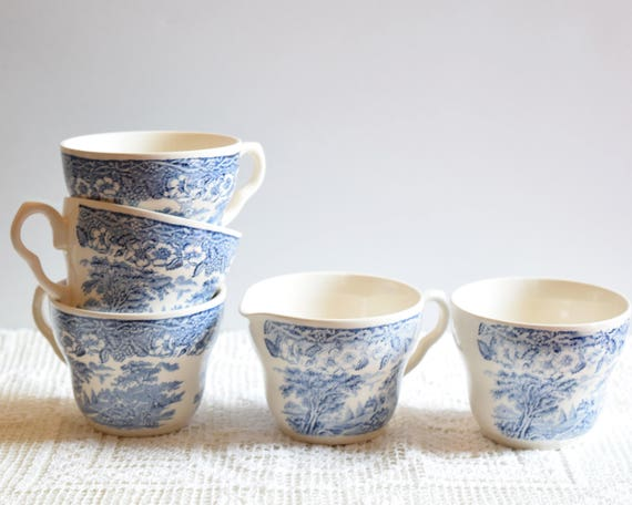 Blue Transferware Cups Sugar Bowl and Creamer Tea Set Blue