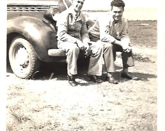 "Vintage Snapshot ""Plan B"" Waiting For The Tow Truck Cute Guys Buddies Sitting On Car Bumper Road Trip Found Vernacular Photo"