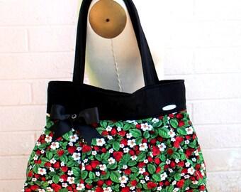 """Strawberry Purse, Strawberry Handbag, Fruit Purse, Shoulder bag-""""Strawberry Blossom"""""""