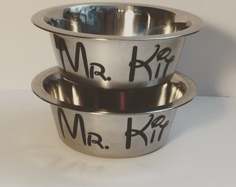 Disney inspired personalized stainless steel pet bowls. Great for dogs and cats! Choose your size and color