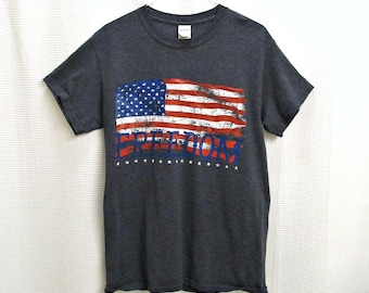American flag t-shirt - vintage tee, freedom flag, red white and blue, stars and bars, patriotic tee