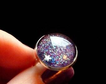 Multicolor Galaxy silver base ring