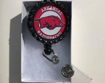 Arkansas Razorbacks Retractable ID Badge Reel, Arkansas Razorbacks magnets, Arkansas Razorbacks earrings, Arkansas Razorbacks keychain