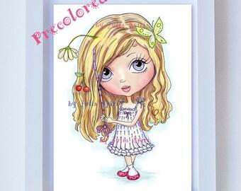 Nursery Wall Art Printable, COLOR Digital Illustration, Big Eyes, Cute Girl, Digital Print, Decor Wall Art, Room Decor. Girl with hair wrap