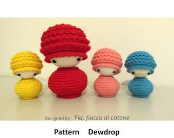 Pattern Dewdrop, kokeshi doll amigurumi crochet