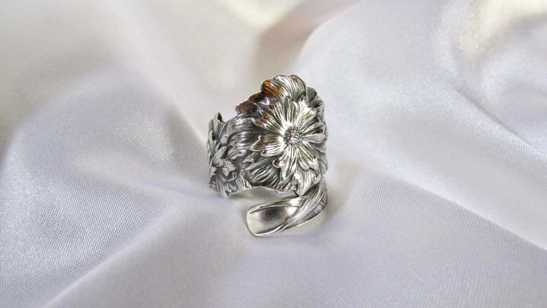 Carnation Flower Spoon Ring Victorian Symbolic Of Love And