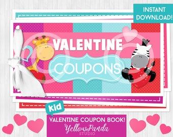 Printable Valentine Coupon Book, Valentine Coupons, Valentine Gift, Kid Valentines, DIY, digital, INSTANT DOWNLOAD