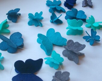 Butterfly Garland: Floating Wool Felt Butterflies, Hand Dyed Banner for Nursery, Birthday or Playroom (Blues)