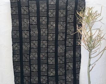 Mudcloth textile, Mud cloth fabric, black and white mudcloth home decor tribal fabric #60