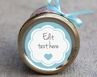 Printable editable heart label | Blue scalloped mason jar label | Customizable gift tag | Baby shower label | Baby boy party favor gift tag