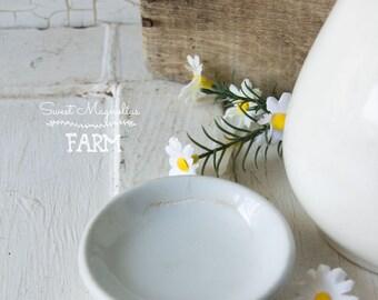 Ironstone blanc antique beurre Pat J G Meakin Eastwood Hanley - décor de salle à manger cuisine de ferme Style - campagne Shabby Chic-