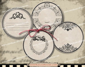 Round Labels editable 2 inch circle tags blank vintage labels  instant download printable images digital collage sheet