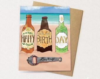 Beach Beer Card - Beer Greeting Card, stout, stella, beers, shark, beer opener, beach cards, paper goods, greeting cards, drink cards