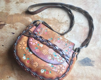 70s BOHO Leather Purse, Tooled Leather Purse, Hippie Bag, Painted Flowers, BOHO Purse Painted Floral, Leatherwork Handcrafted Hand Tooled
