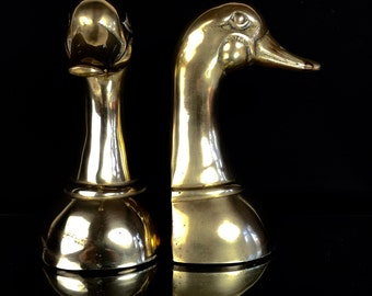 Vintage Brass Weighted Mallard Duck Bookends