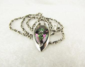 Topaz Pendant Necklace Purple Mystic Topaz Pendant Color Change Pendant Silver Gemstone Necklace Rainbow Jewelry Teardrop Necklace