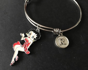 BETTY BOOP Single Color Dress (Choice of Color) Adjustable Stainless Steel Bangle Bracelet with Initial Charm