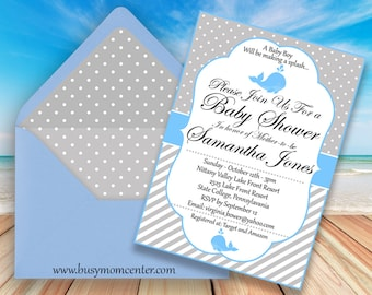 Baby Shower Invitation - Baby Shower Themes - Blue Whale Baby Shower Invitation - Editable Invitation