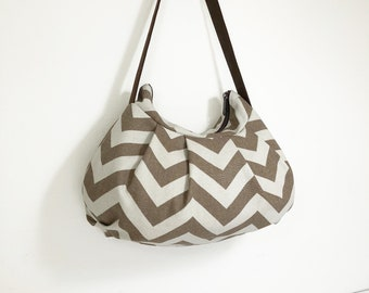 Pleated Bag // Shoulder Purse - Zig Zag Brown/Tan