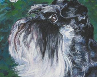 Miniature Schnauzer art CANVAS print of LA Shepard painting 8x10 dog portrait