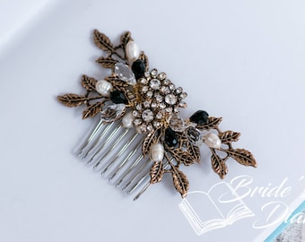 Wedding hair jewelry,  small bridal hair comb with pearls, antique gold vintage bridal hair comb with black pearls
