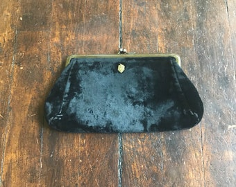 Black Velvet old clasp clutch purse