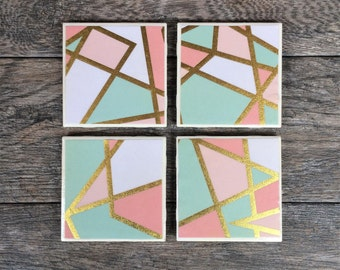 Pastel Pink, White, Mint Green and Gold Geometric Coasters