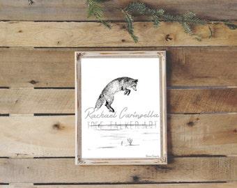 Jumping Fox Art- Giclee Fine Art Print - Pen and Ink Illustration - Fox lllustration - Artist Rachael Caringella
