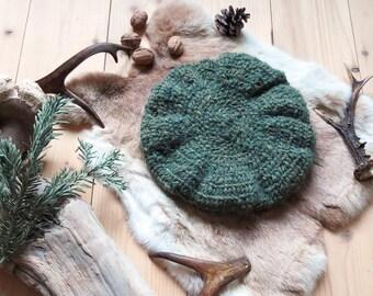 Hat in rustic, Cap Nalbinding - natural wool, alpaca wool, color Moss, Woods
