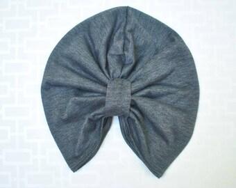 Dark Gray Turban Hat or Turban/Knotted Headband