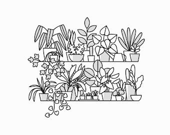 A3 Plant Shelves Risograph Print