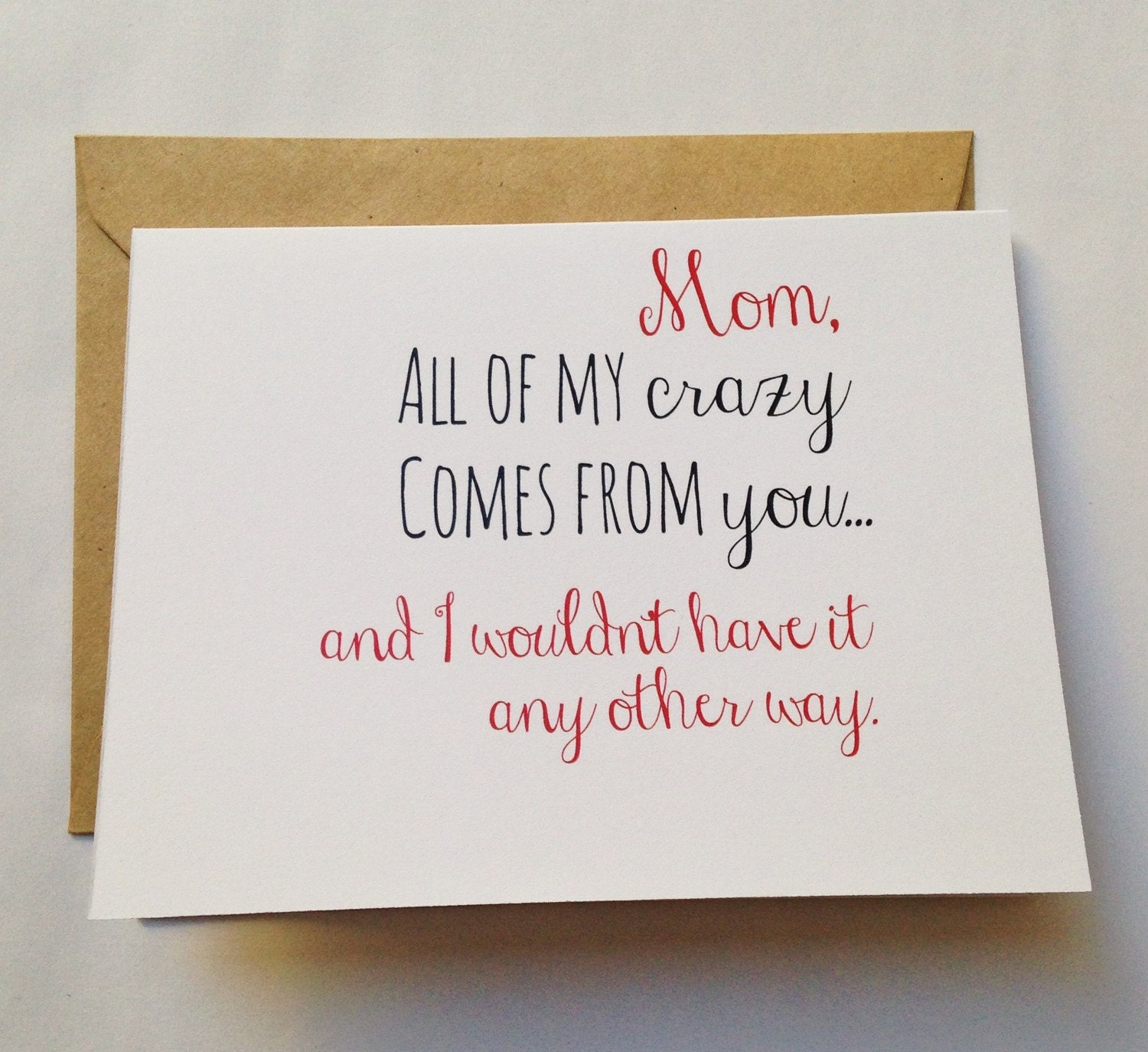 Crazy Mom Card Mothers Day Card Mom Birthday Card