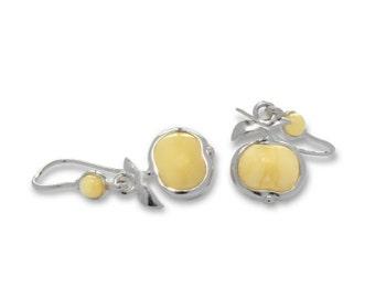 Baltic Amber Jewelry Apple Earrings Butterscotch Dangle 1.37″ 925 Silver
