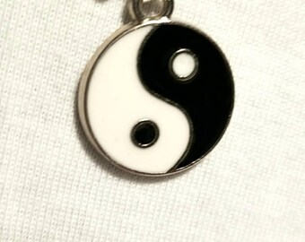 Necklace Ying Yang black and white. The sign of balance Silver enameled    necklace.Balanced handmade