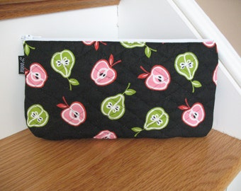 Quilted Summer Apples and Pears Zippered Pouch or Clutch