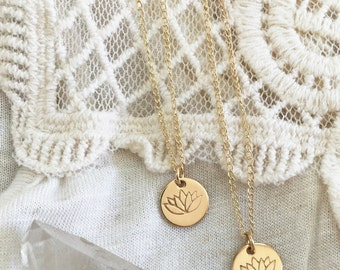 Small Lotus Flower Necklace - Lotus disc necklace, 14k gold filled, yoga jewelry, lily charm, lotus charm necklace, gold lotus necklace
