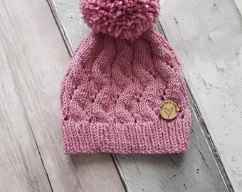 Baby Beanie | Baby Shower Gift | Girls Baby Beanie | Pink Beanie | Baby Knit Beanie |  Beanie with Pom Pom | Knit Beanie | Baby Hat | Reveal