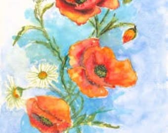 Poppy Watercolor Print (White Border)