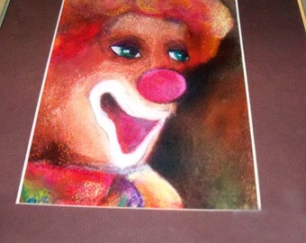original art pastel drawing matted  colorful clown face