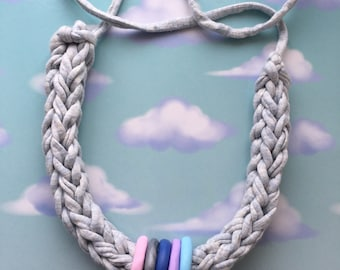 T shirt yarn necklace with handmade beads.