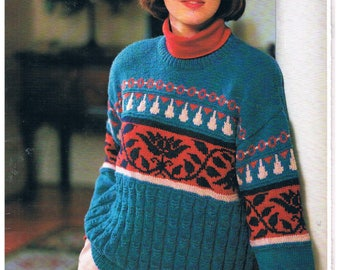 Four Richly Coloured Womens Knitting Patterns in 8 Ply ( DK) by Panda