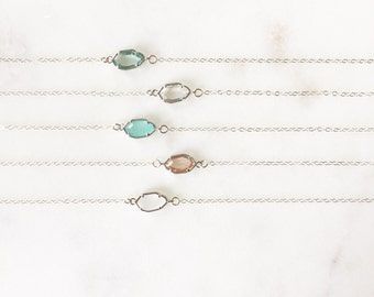 CORA   Dainty Silver Stone Necklace   Glass Stone Necklace   Tiny Stone Necklace   Dainty Silver Necklace   Sterling Silver Necklace