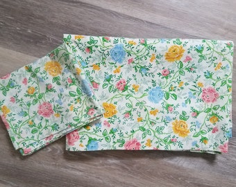 Vintage Twin Sheets, Pillowcase, 1970's, Floral Sheet Set, Twin Sheet, Pink Blue Yellow Flowers & Green Vine