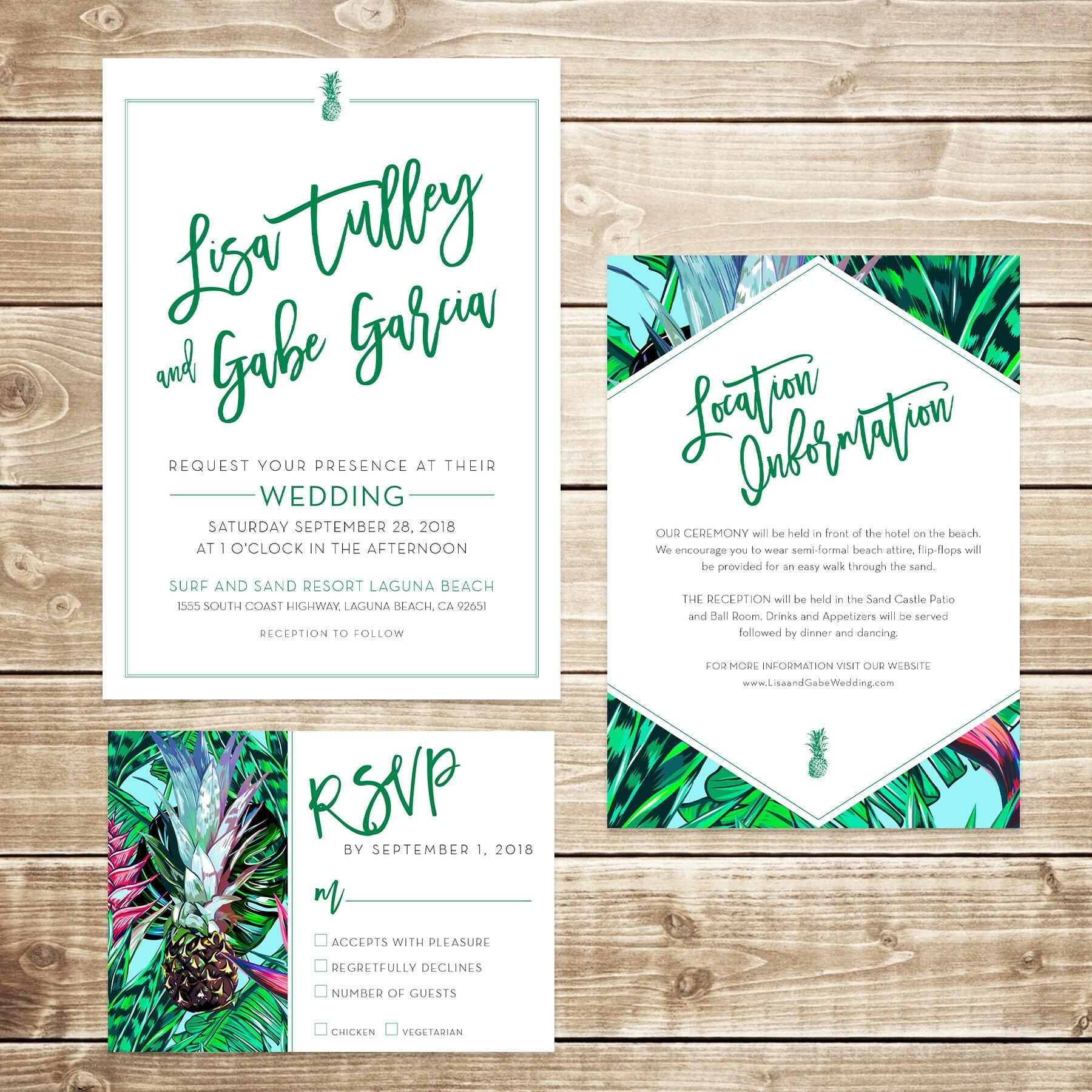 Tropical Wedding Invitation Bundle / Hawaiian Wedding / Beach