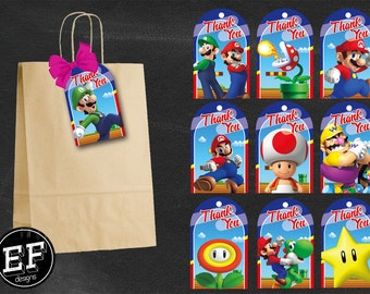 20 Mario Bros Tags, Mario Bros Thank you tags instant download, Printable Super Mario party Thank you tags